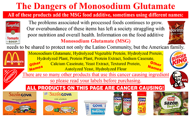 The Dangers of Monosodium Glutamate! The problems associated with processed foods continues to grow. Our overabundance of these items has left a society struggling with poor nutrition and overall health. Information on the food additive Monosodium Glutamate (MSG) needs to be shared to protect not only the Latino Community, but the American family. All these products add the MSG food additive, just using different names: Monosodium Glutamate, Hydrolyze Vegetable Protein, Hydrolyzed Protein, Hydrolyzed Plant, Protein Plant, Protein Extract, Sodium Casenate, Calcium Caseinate, Yeast Extract, Textured Protein, Autolyzed Yeast, Hydrolyzed Flour. There are so many other products that use this cancer causing ingredient so please read your labels before purchasing.